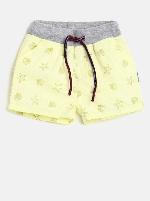 Gini and Jony Girls Yellow Printed Regular Fit Shorts