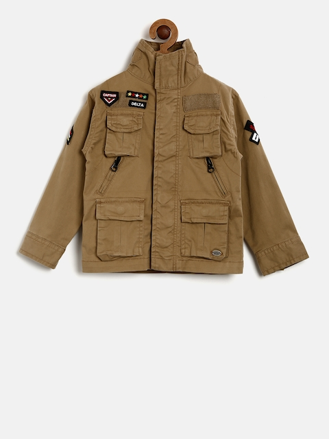 Gini and Jony Boys Brown Solid Parka