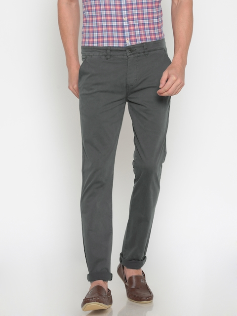 Pepe Jeans Men Grey Slim Fit Solid Chinos