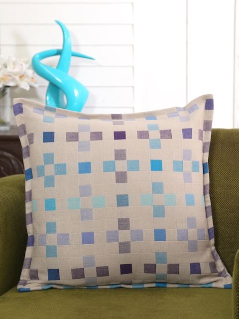 MASPAR Beige Single Geometric Square Cushion Cover