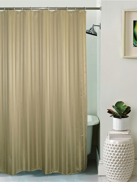 Lushomes Unidyed Beige Polyester Shower Curtain with Eyelets