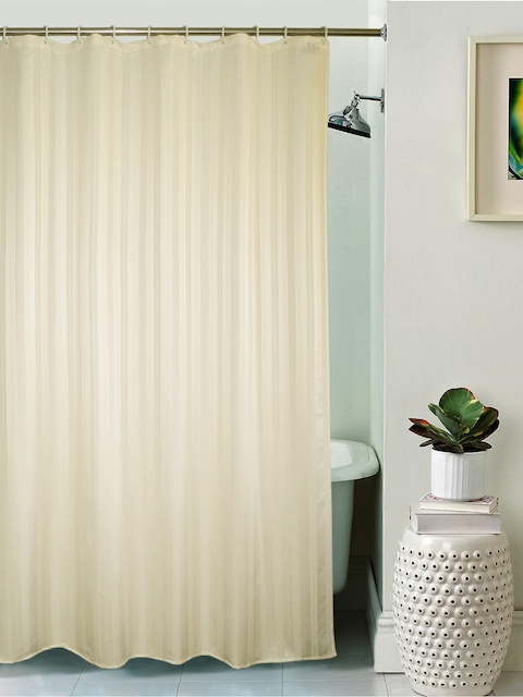 Lushomes Unidyed Cream Polyester Shower Curtain with Eyelets