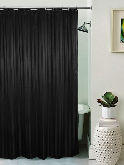Lushomes Unidyed Black Polyester Shower Curtain with Eyelets