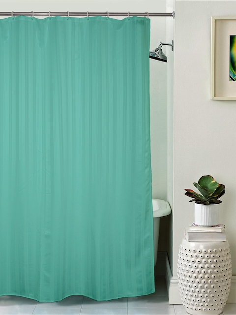 Lushomes Unidyed Green Polyester Shower Curtain with Eyelets