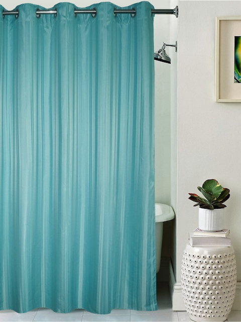 Lushomes Unidyed Blue Polyester Shower Curtain