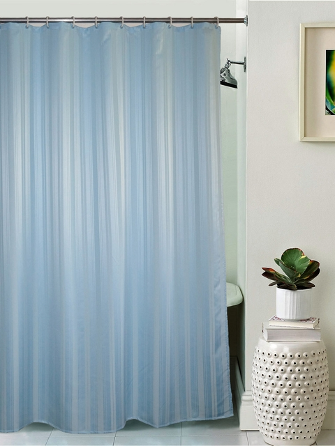 Lushomes Unidyed Blue Polyester Shower Curtain with Eyelets