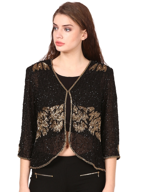 Saadgi Women Black Embellished Shrug