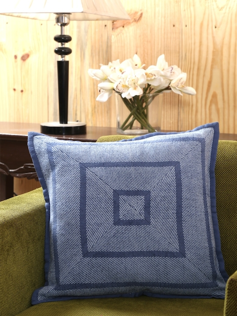 MASPAR Blue Printed Square Cushion Cover
