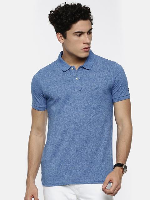 Arrow Sport Men Blue Solid Polo Collar T-shirt