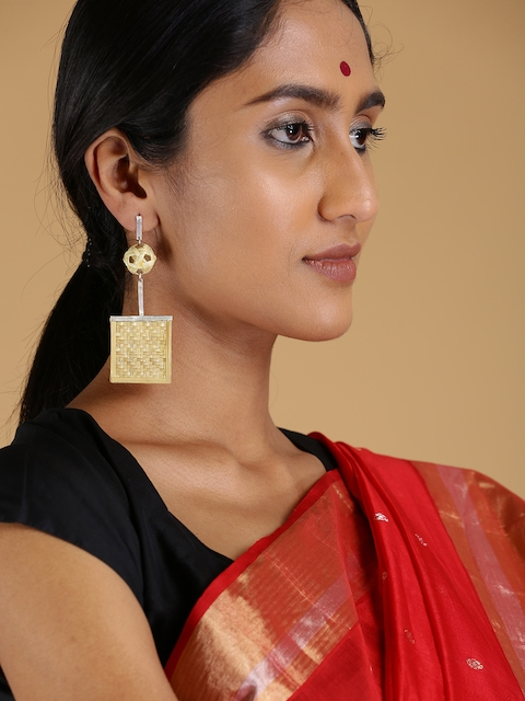 navibhu Beige & Silver-Toned Handcrafted Drop Earrings