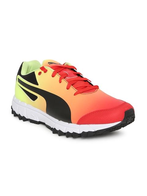 Puma Men Red & Yellow evoSPEED 360.4 FH Fade Cricket Shoes