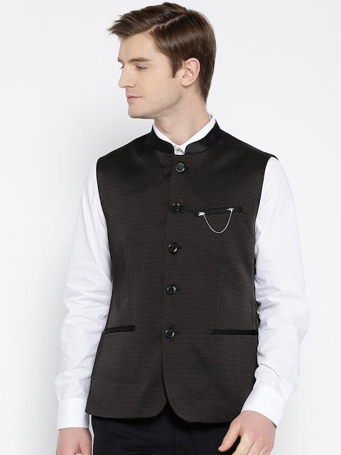 Arrow Black Self-Design Body Tailored Fit Smart Casual Nehru Jacket