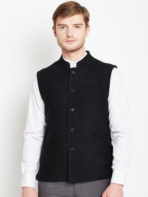 Arrow Black Smart Casual Nehru Jacket