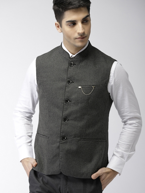 Arrow Black & White Self-Design Body Tailored Fit Smart Casual Nehru Jacket