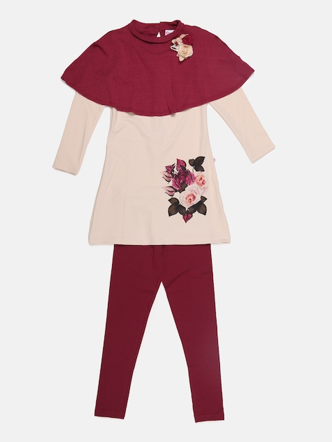 Peppermint Girls Mauve & Maroon Printed Top with Leggings