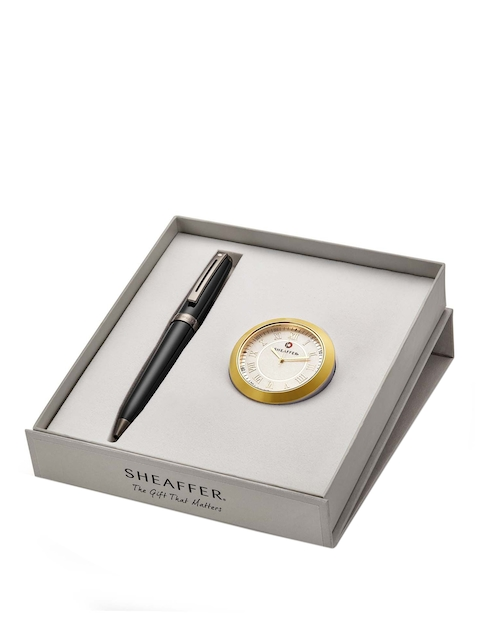 Sheafter Black 9144 Ballpoint Pen with Gold Chrome Table Clock