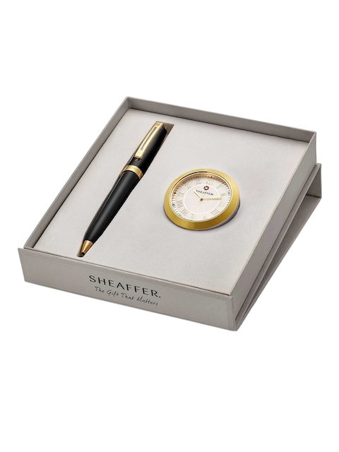 Sheafter Black 346 Ballpoint Pen with Gold Chrome Table Clock