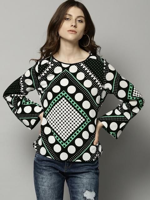 Marks & Spencer Women Black & White Printed Top