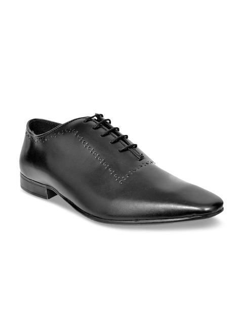 Allen Cooper Men Black Leather Formal Oxfords