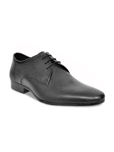 Allen Cooper Men Black Textured Leather Derbys