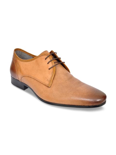 Allen Cooper Men Tan Brown Leather Formal Shoes