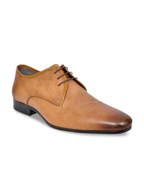 Allen Cooper Men Tan Brown Textured Leather Formal Shoes