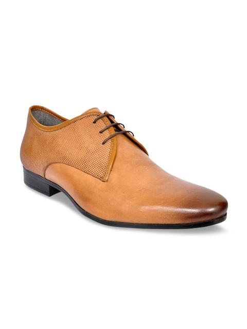 Allen Cooper Men Tan Brown Leather Formal Derbys
