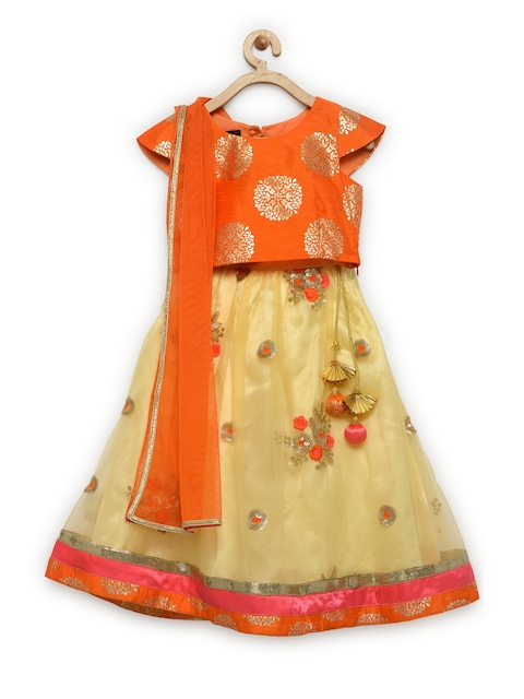 pspeaches Girls Yellow & Orange Jute Silk Ready to Wear Lehenga & Blouse with Dupatta