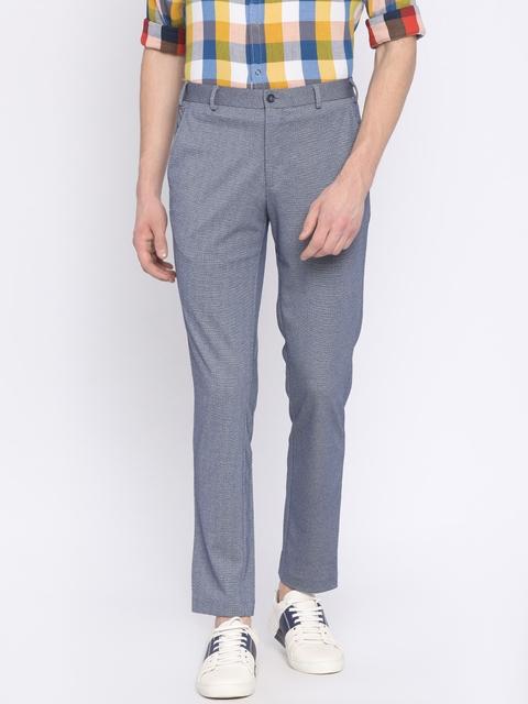 Park Avenue Men Blue Neo Fit Self-Design Regular Trousers