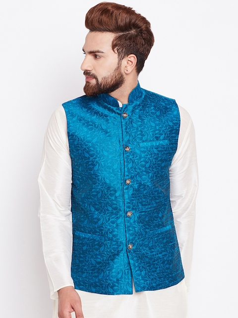 SOJANYA Blue Printed Nehru Jacket