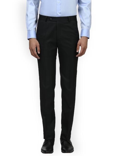 Park Avenue Men Black Slim Fit Self Design Formal Trousers