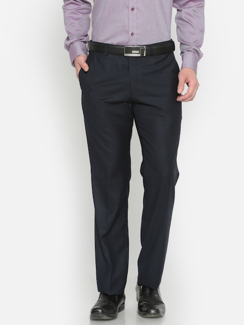 Park Avenue Men Blue Smart Slim Fit Solid Formal Trousers