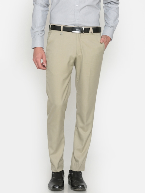 Park Avenue Men Beige Neo Tapered Fit Self Design Formal Trousers