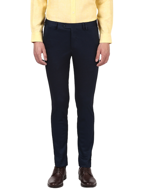Park Avenue Men Blue Regular Fit Solid Formal Trousers