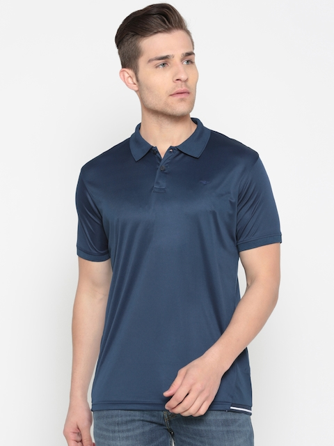 Park Avenue Men Blue Solid Polo Collar T-shirt