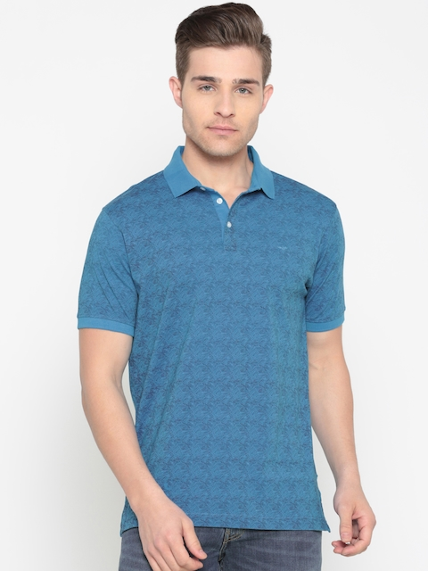 Park Avenue Men Blue Printed Polo Collar T-shirt