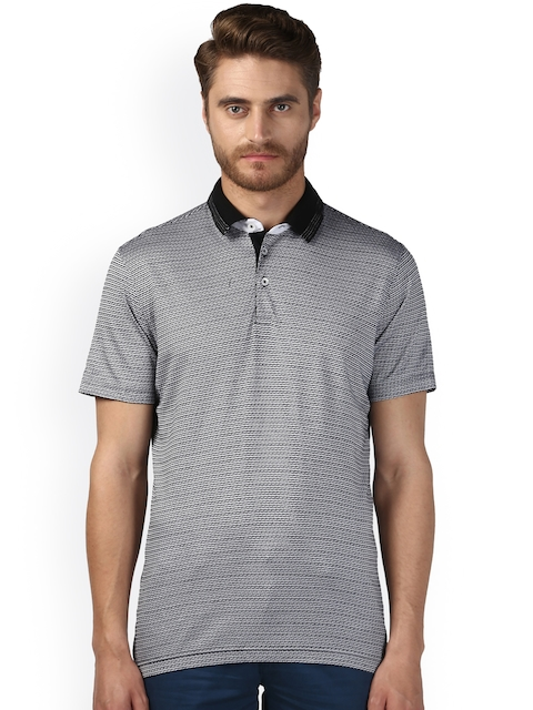 Park Avenue Men Black Printed Polo Collar T-shirt