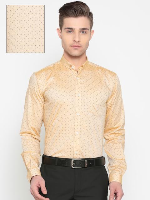 Park Avenue Men Beige Slim Fit Printed Formal Shirt