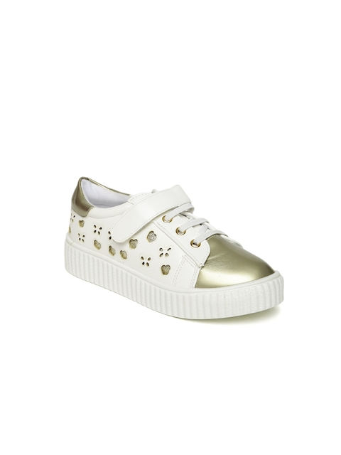 Fame Forever by Lifestyle Girls White & Gold-Toned Sneakers