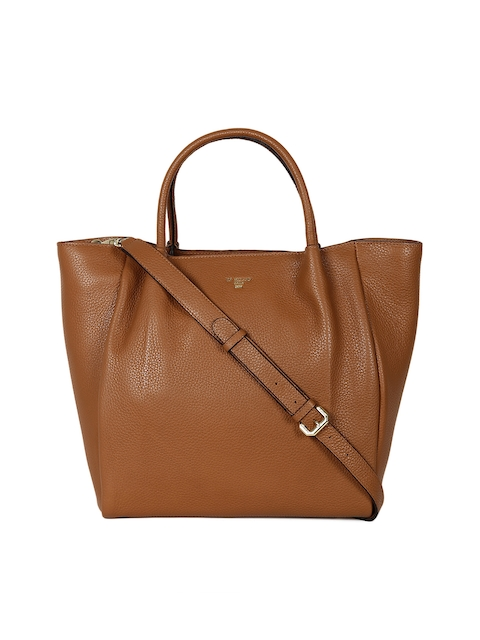 Da Milano Brown & Brown Textured Handheld Bag