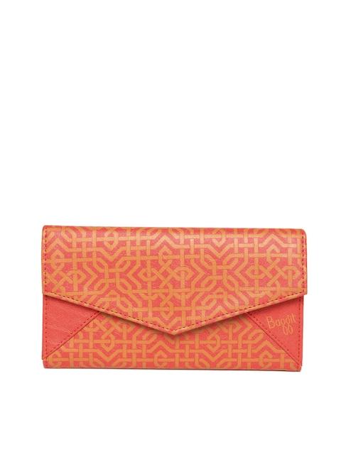 Baggit Women Orange & Mustard Brown Printed Three Fold Wallet