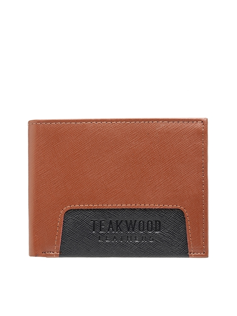 Teakwood Leathers Men Tan Brown & Black Solid Two Fold Wallet