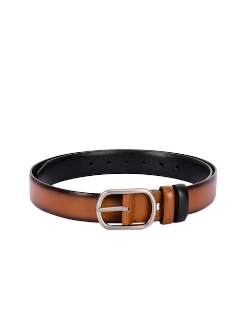 BuckleUp Men Tan & Black Solid Belt