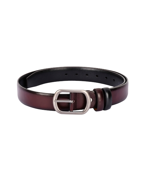 BuckleUp Men Coffee Brown & Black Solid Belt