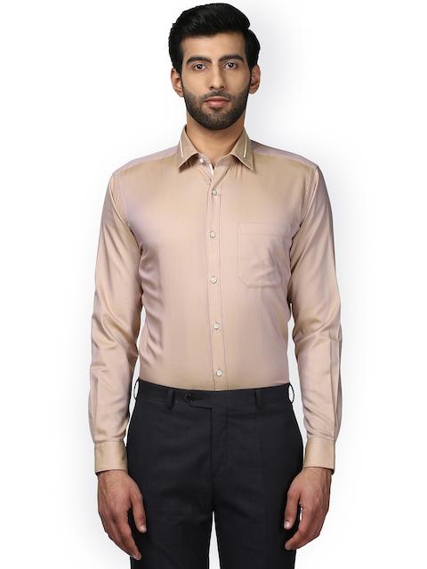 Raymond Men Beige Slim Fit Solid Formal Shirt