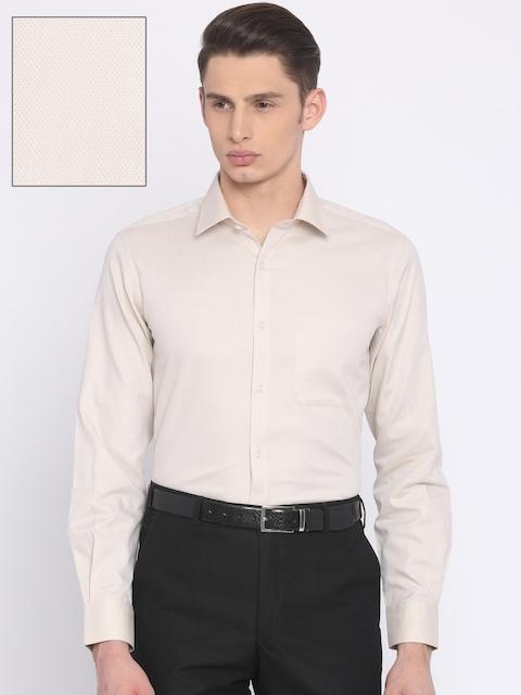 Raymond Men Beige Self-Design Formal Shirt