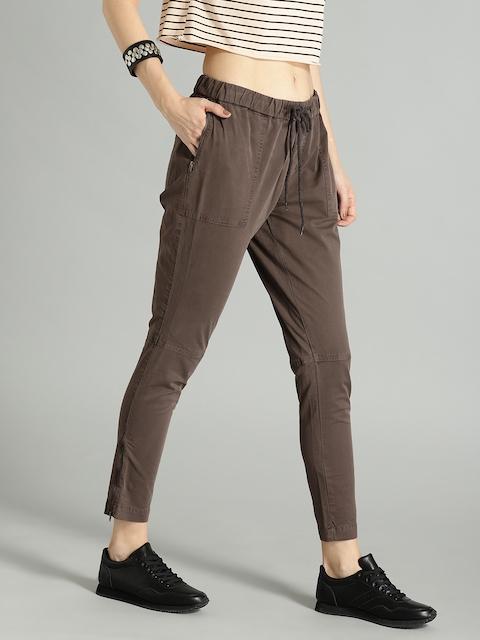 Roadster Women Brown Regular Fit Solid Regular Trousers