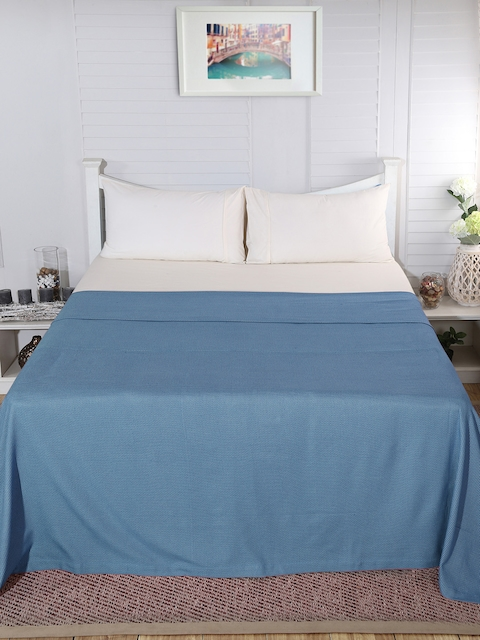 MASPAR Blue Cotton Abstract Double Bed Cover
