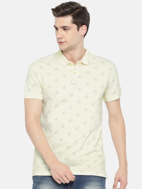 Peter England Casuals Men Beige Printed Polo Collar T-shirt