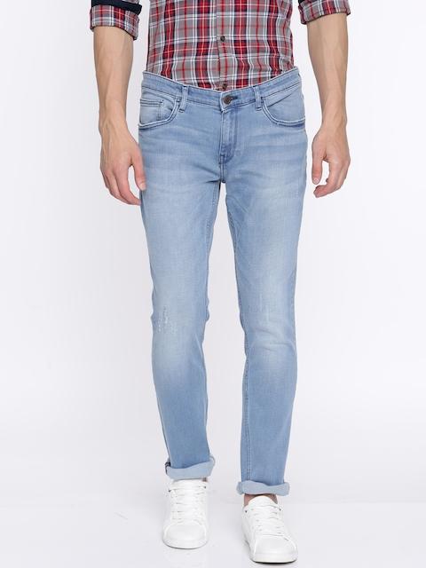 Arrow Blue Jean Co. Men Blue Slim Fit Mid-Rise Mildly Distressed Stretchable Jeans
